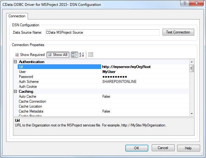 CData ODBC Driver for MSProject 2016 - Windows DSN Configuration