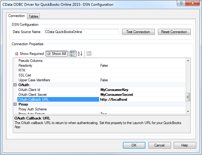 QuickBooks Online Data Provider 2015 - Data Source Name (DSN