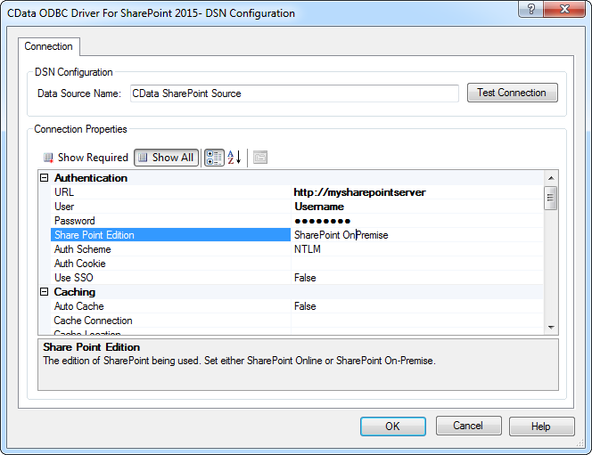 CData ODBC Driver for SharePoint 2016 - Windows DSN