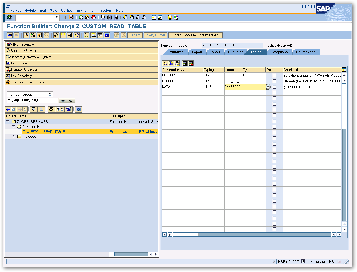 CData SAP OData Connector 2016 - Using a Custom Read Table Function