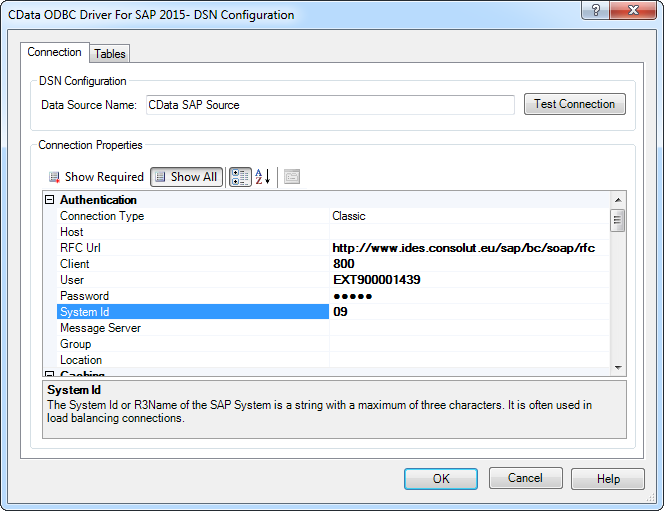 CData ODBC Driver for SAP 2016 - Windows DSN Configuration